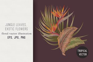 Tropical flowers botanical print