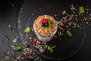 Сhia pudding or yogurt with granola