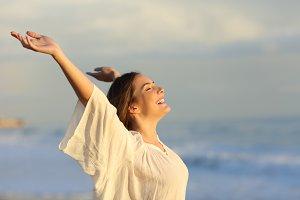 Joyful woman enjoying a day