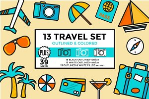Travel Set Outlined & Colored