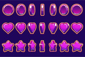 Cartoon violet heart, coin and star