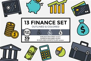Finance Set Outlined & Colored