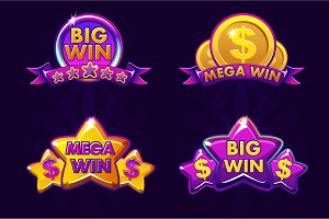 big and mega win icons for casino
