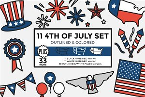 4th of July Set Outlined & Colored
