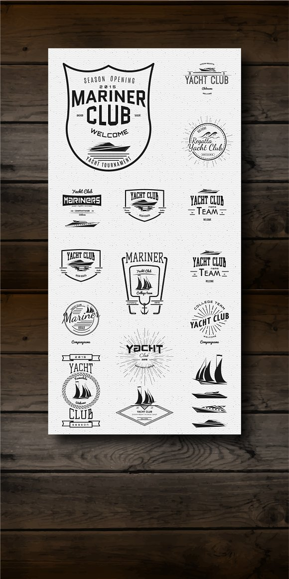 Yacht vector set badges and logos