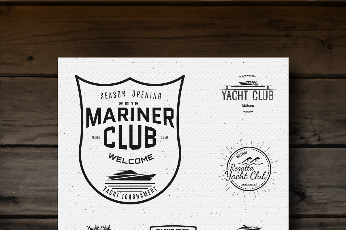 Yacht vector set badges and logos in Logo Templates - product preview 8