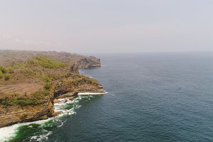 rocky coast with ocean surf