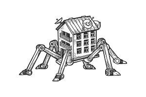 Fantastic house on spider legs