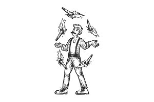 Circus fire juggler performer vector