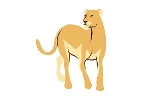Stylized illustration of lioness.