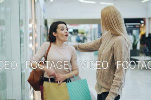 Pretty girls are meeting in shopping