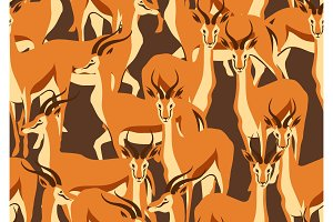 Seamless pattern with of gazelles.