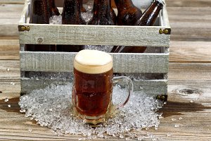 Frosty Dark Beer in Glass Mug