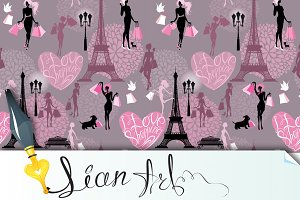 Seamless pattern - I Love Shopping