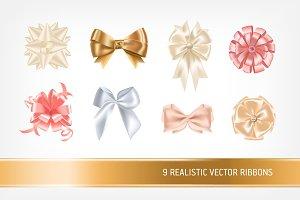 Realistic ribbons set