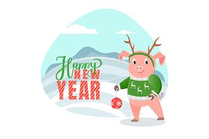 Happy New Year Postcard Pig Winter