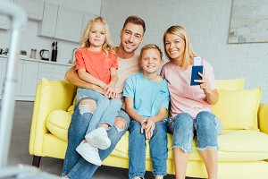 Family spending time at home