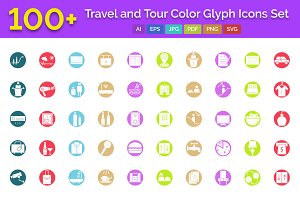 100+ Travel & Tour Color Glyph Icons