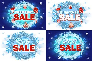 Set banner Christmas and winter Sale