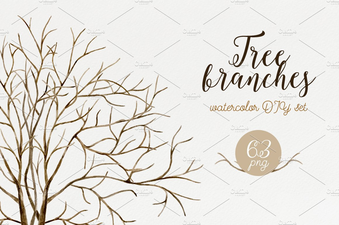 Tree Branches Watercolor Diy Set Illustrations