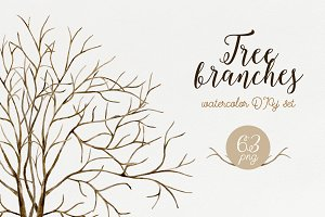 Tree branches. Watercolor DIY set