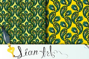 2 Seamless pattern, peacock feathers