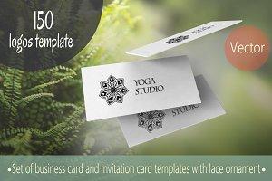 150 logos template. Mandalas vector