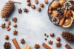 Winter food ingredients nuts cones