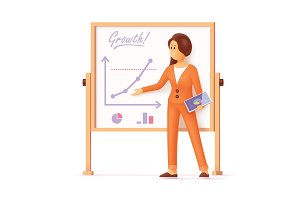 Woman showing presentation charts