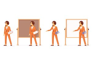 Vector woman pointing at flip chart