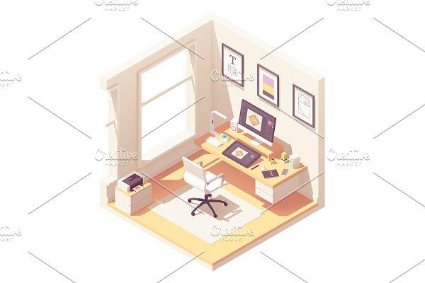 Isometric graphic designer workplace