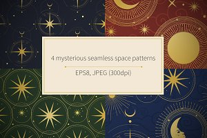 4 vector seamless space patterns