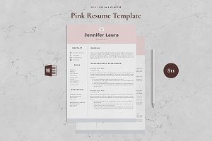 Resume Template 4 Page - Pink