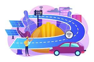 Smart roads construction concept