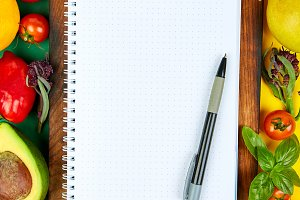 Shopping list, recipe book, diet