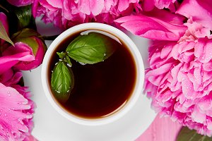 Bouquet Peony flowers and  cup o