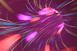 Flight over neon light tunnel