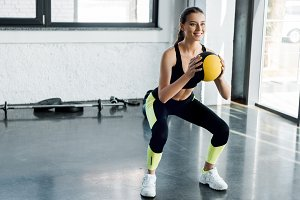 Sporty woman during workout
