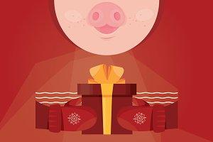 Cute pig. Christmas card banner.