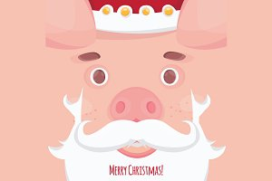 Cute pig. Christmas poster banner