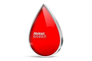Shiny metal vector drop banner
