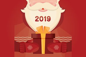 Santa Claus with gift Christmas card