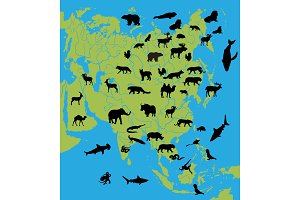 Animals on the map of Asia