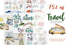 Watercolor Travel Clipart Bundle