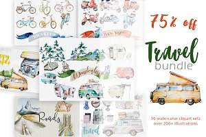 Watercolor Travel Clipart Bundle