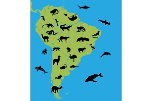 Animals on the map of South America