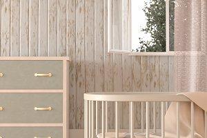 Gender neutral nursery, 3D render