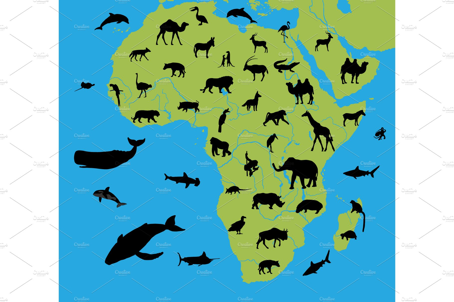 Animals on the map of Africa | Pre-Designed Photoshop Graphics ~ Creative  Market