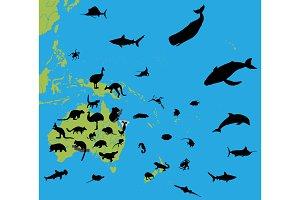 Animals on map Australia and Oceania