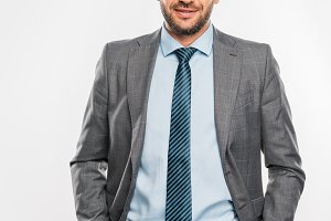 handsome businessman in suit and eye